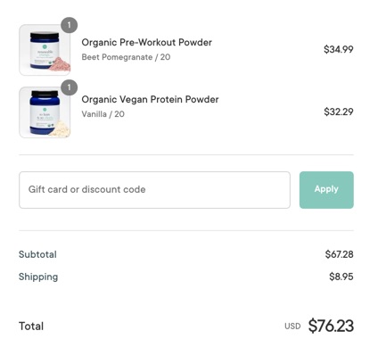price before using the coupon code