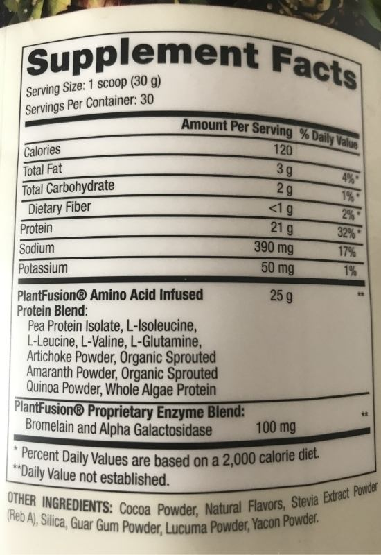 Picture of Plantfusion nutritional label