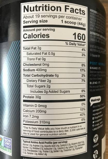 Image of the Vega Sport nutrition label