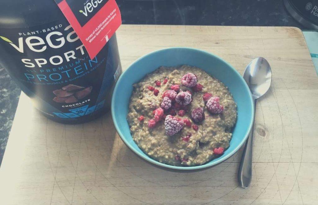 Image of porridge made with Vega Sport chocolate flavor.